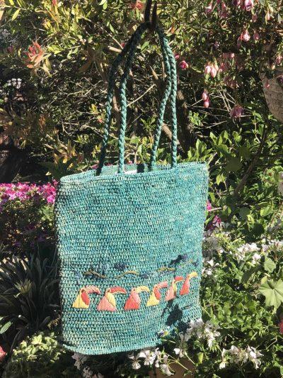 Turquoise Awri Raffia Bag