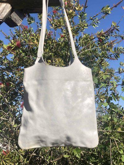 silver metallic leather bag