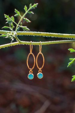 oval dot earrings with turquoise stones