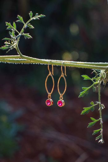 Ruby zircon earrings