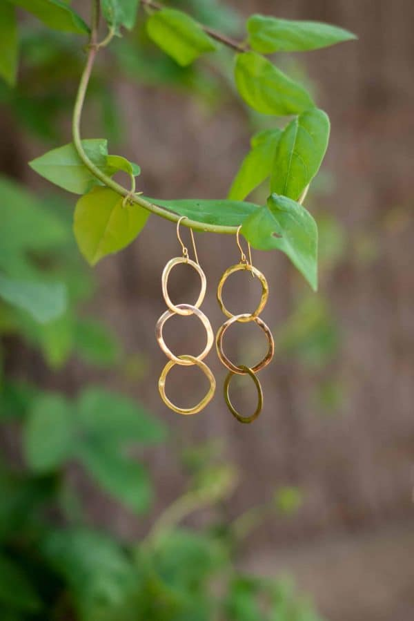thre hoop gold plated earrings