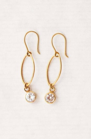 Zircon oval dot earrings