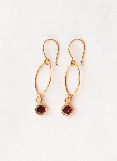 Garnet oval dot earrings