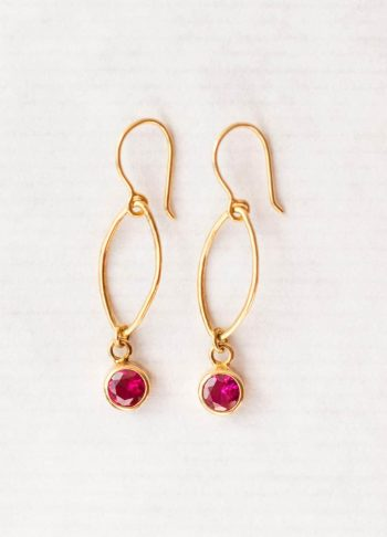 Ruby zircon oval dot earrings