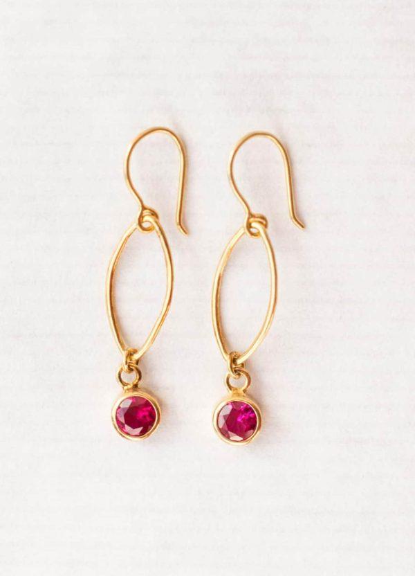 Ruby zircon oval dot earrings