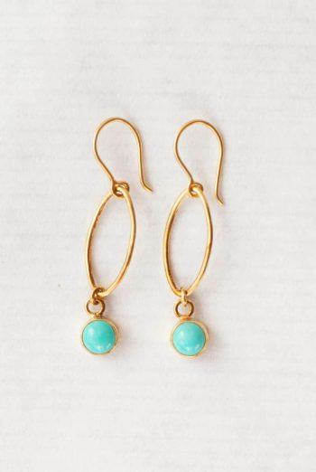 Turquoise oval dot earrings