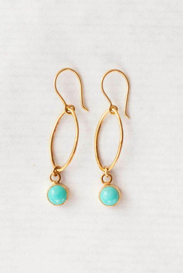 Turquoise oval dot earrings