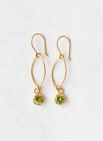 Peridot oval dot earrings