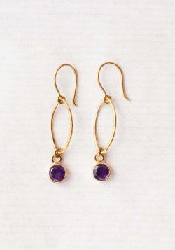 Amethyst oval dot earrings