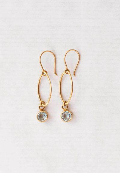 Blue topaz oval dot earrings
