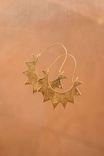 silver gold plated earrings in the shape of a half sun