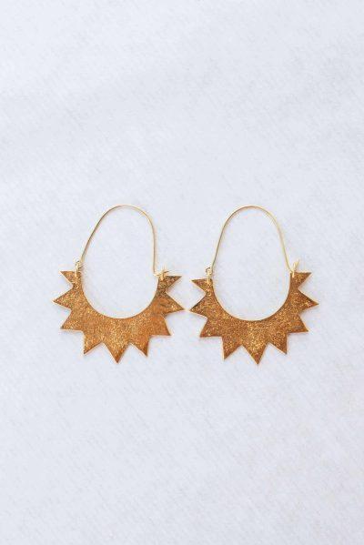 silver gold plated half sun earrings