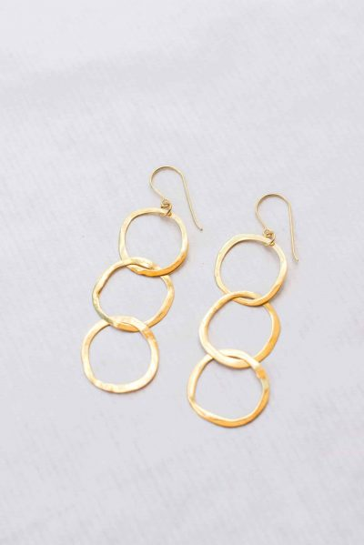 Gold 3 Hoop Dangle Earrings