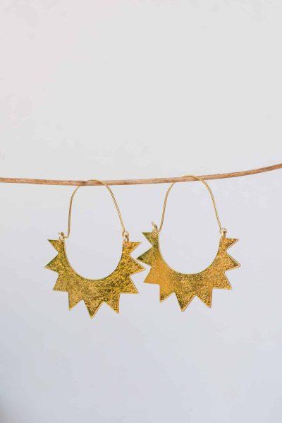 half sun earrings in silver gold plate