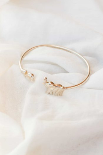 silver elephant and heart bangle