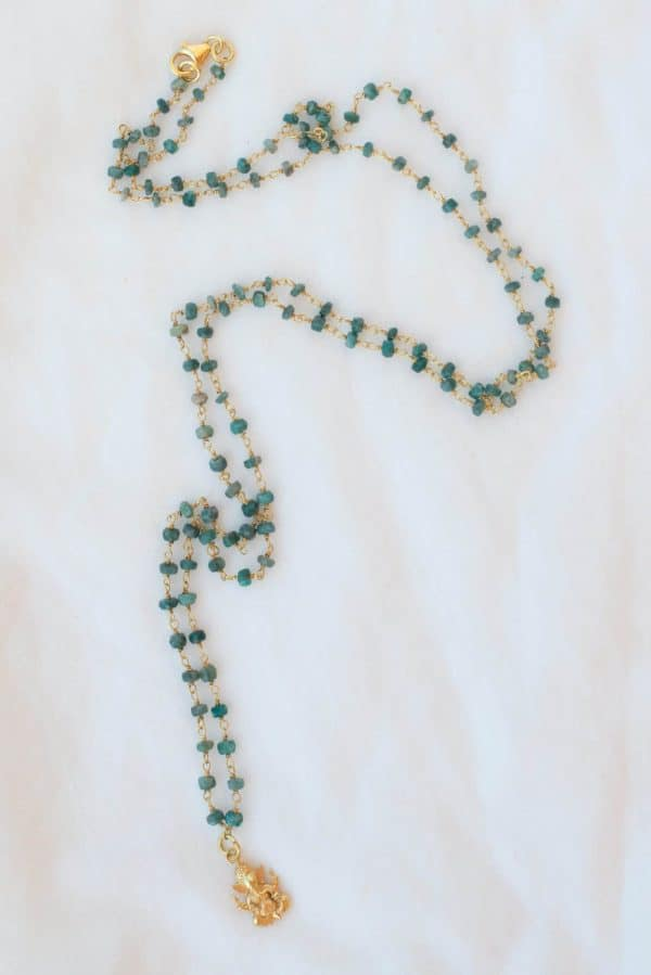 Emerald beaded necklace with silver gold plated charm