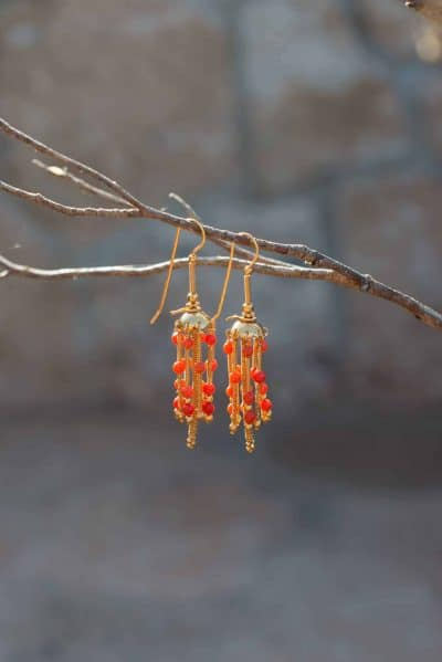 silver gold plated coral earrings