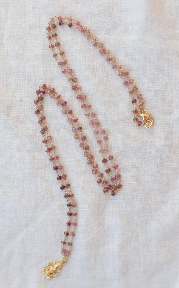 Ganesh charm on a Pink Tourmaline Necklace