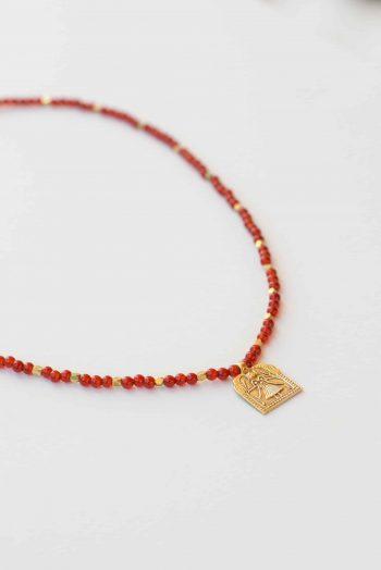 Beaded Carnelian Domestic Goddess Necklace