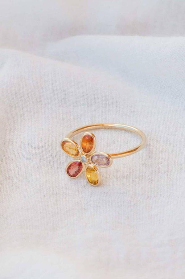 Multi Sapphire Diamond Dot Flower Ring