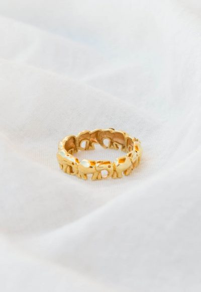 elephant band ring silver gold plated