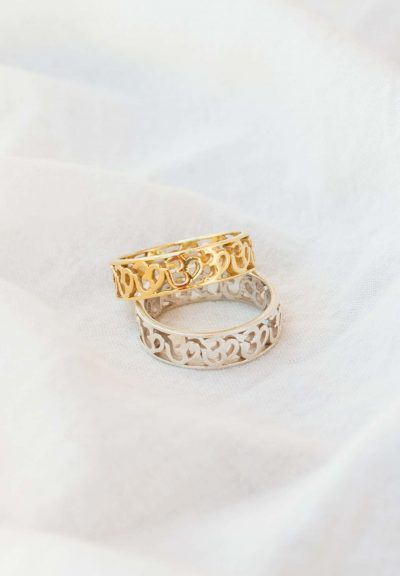 Silver or gold om band rings
