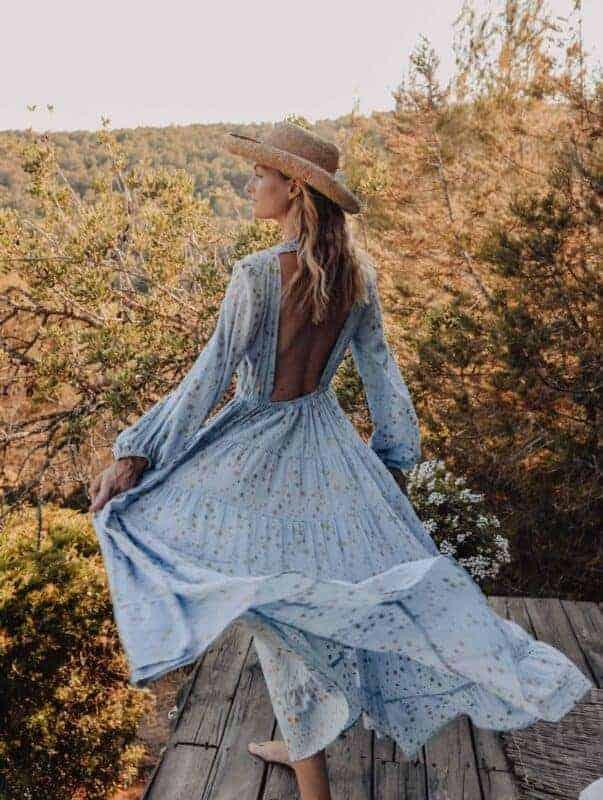 beautiful blue backless dress