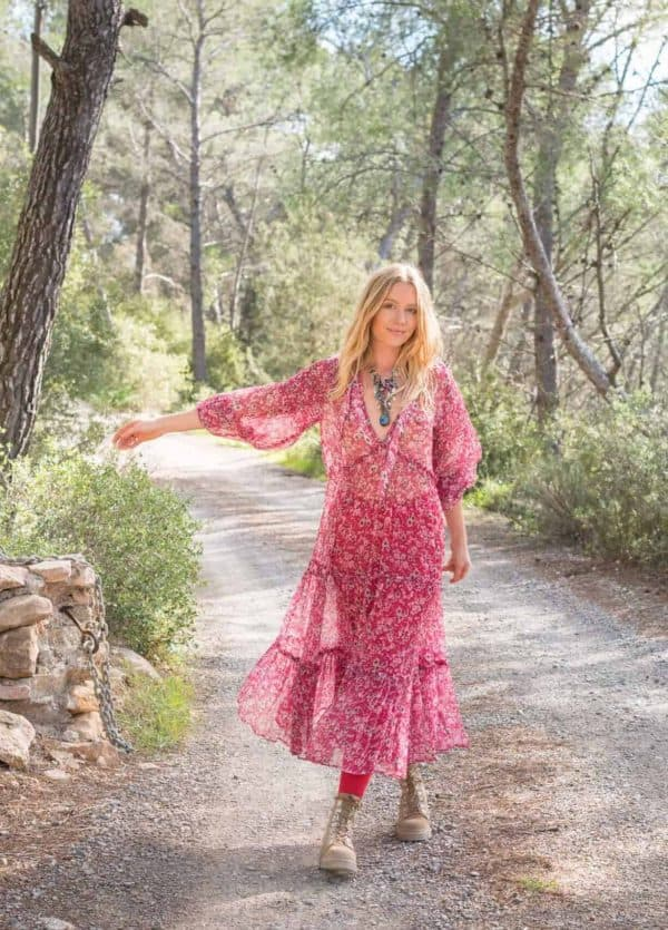 pink cosmic dress in chiffon