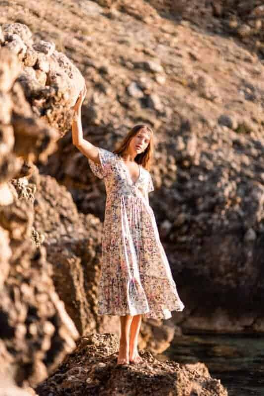 floral dress by the seaside