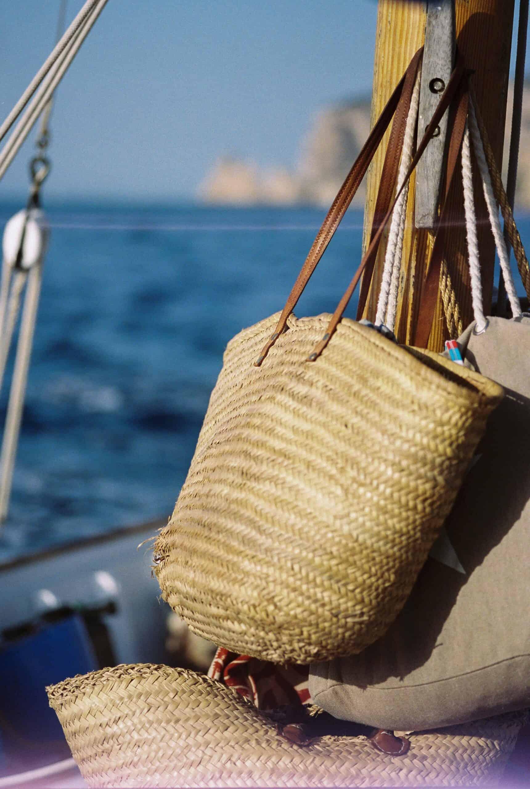 Ibiza baskets on a boat