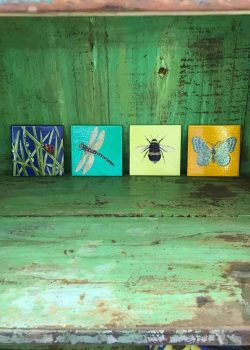 coasters with decoupage bugs on them