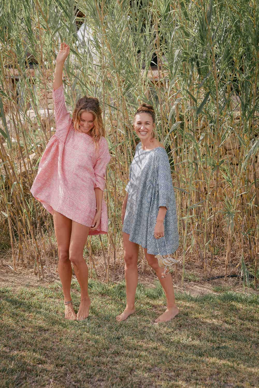 short aloka tunics in silk