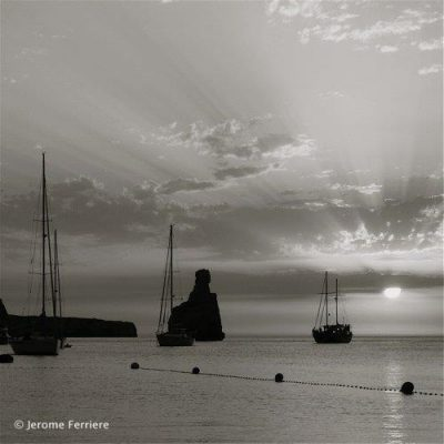 Benirras Sunset black and white photography ibiza by Jérôme Ferrière