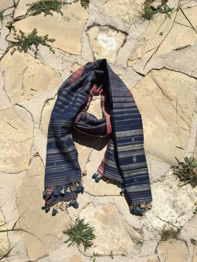hand woven wild silk scarf in blue and cream