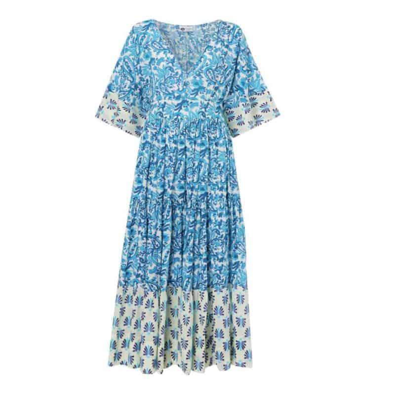 two tone blue dress with kimono style sleeves