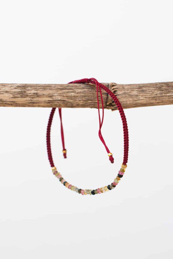 maroon tourmaline string bracelet