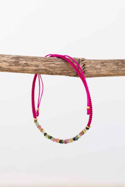 hot pink tourmaline string bracelet