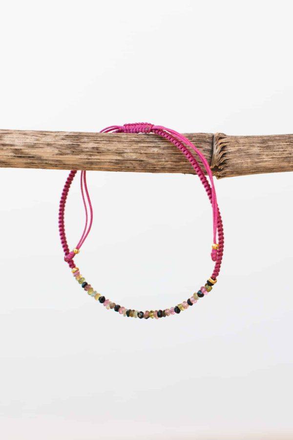dusty rose tourmaline string bracelet