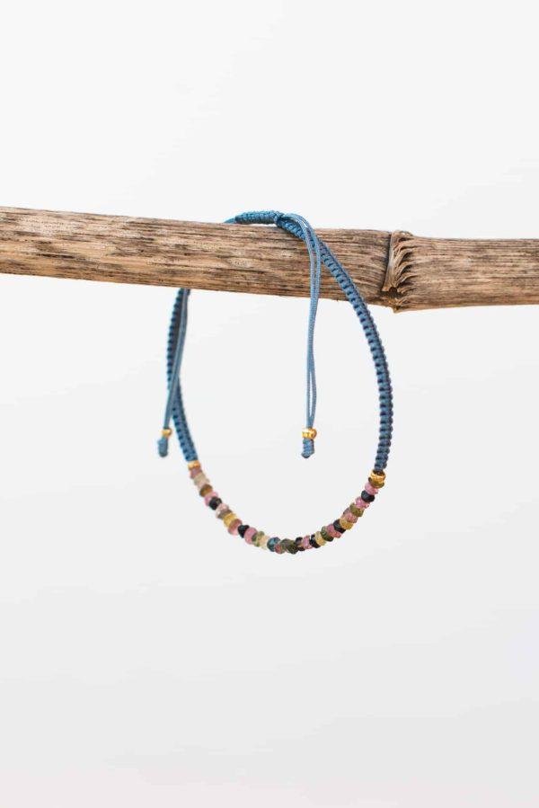 dusty blue tourmaline string bracelet