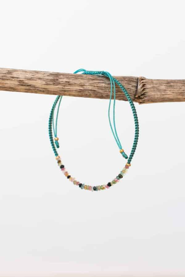seafoam green tourmaline string bracelet