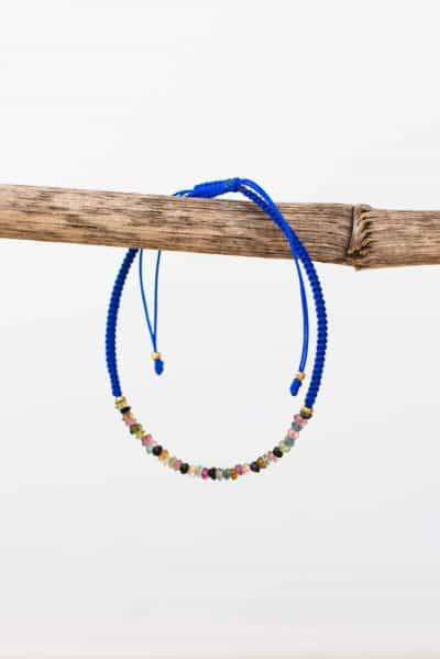 cobalt blue tourmaline string bracelet