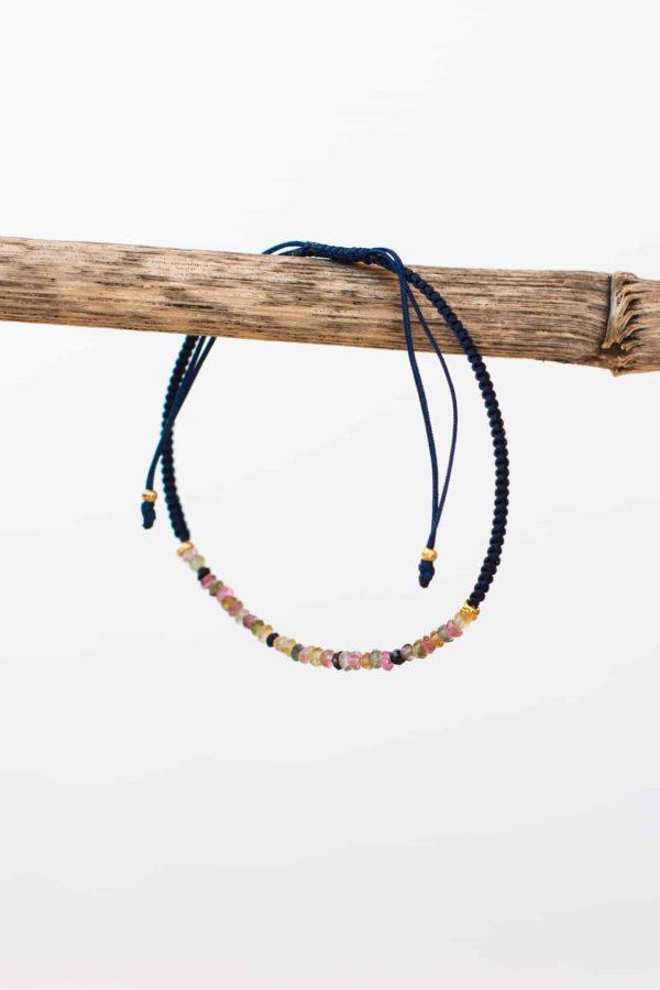 navy blue tourmaline string bracelet