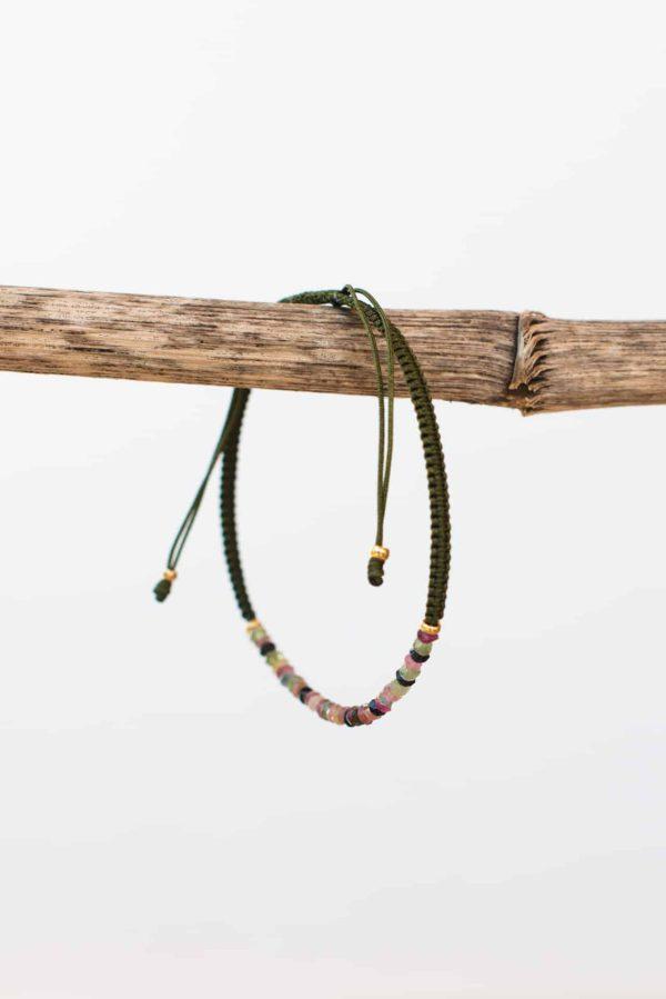 olive green tourmaline string bracelet