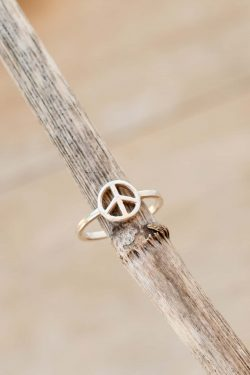 silver peace symbol ring