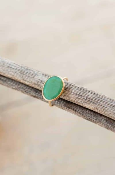 green onyx 14kt gold wire ring