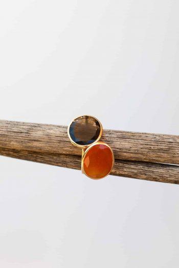 carnelian and smoky quartz rings