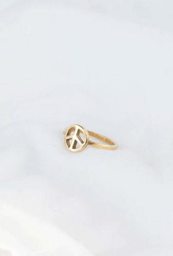 peace symbol ring in silver gold plate