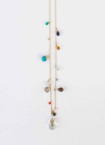 gemstone necklace with aquamarine