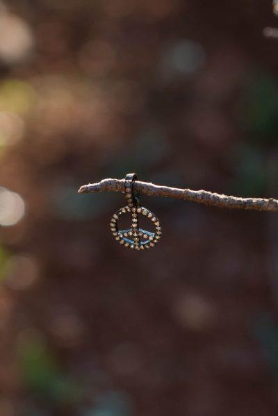 silver rhodium diamond peace charm