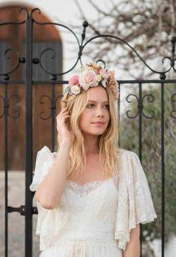 Peach Floral Head Crown